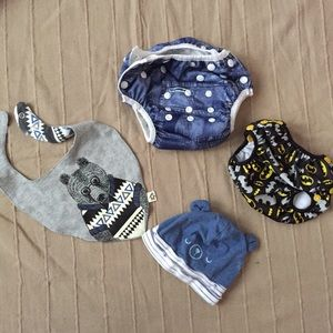 Lot of 2 Reusable Diapers, bib and hat